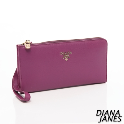 Diana-Janes-牛皮十字紋護照夾-紫