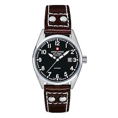 阿爾卑斯 S.A.M -獨家限定-指揮官系列-黑色錶盤/皮帶/30mm