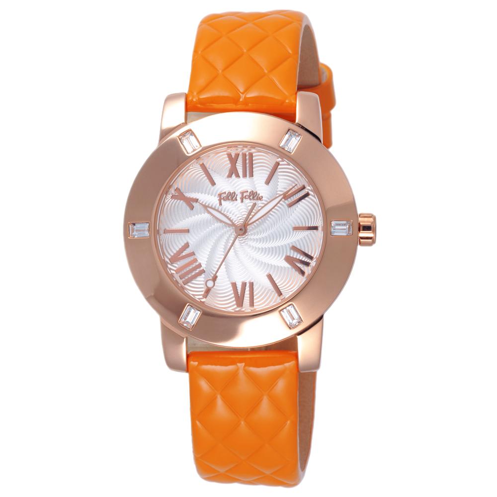 Folli Follie 時尚羅馬都會晶鑽腕錶-玫瑰金框白x橘皮帶/34mm
