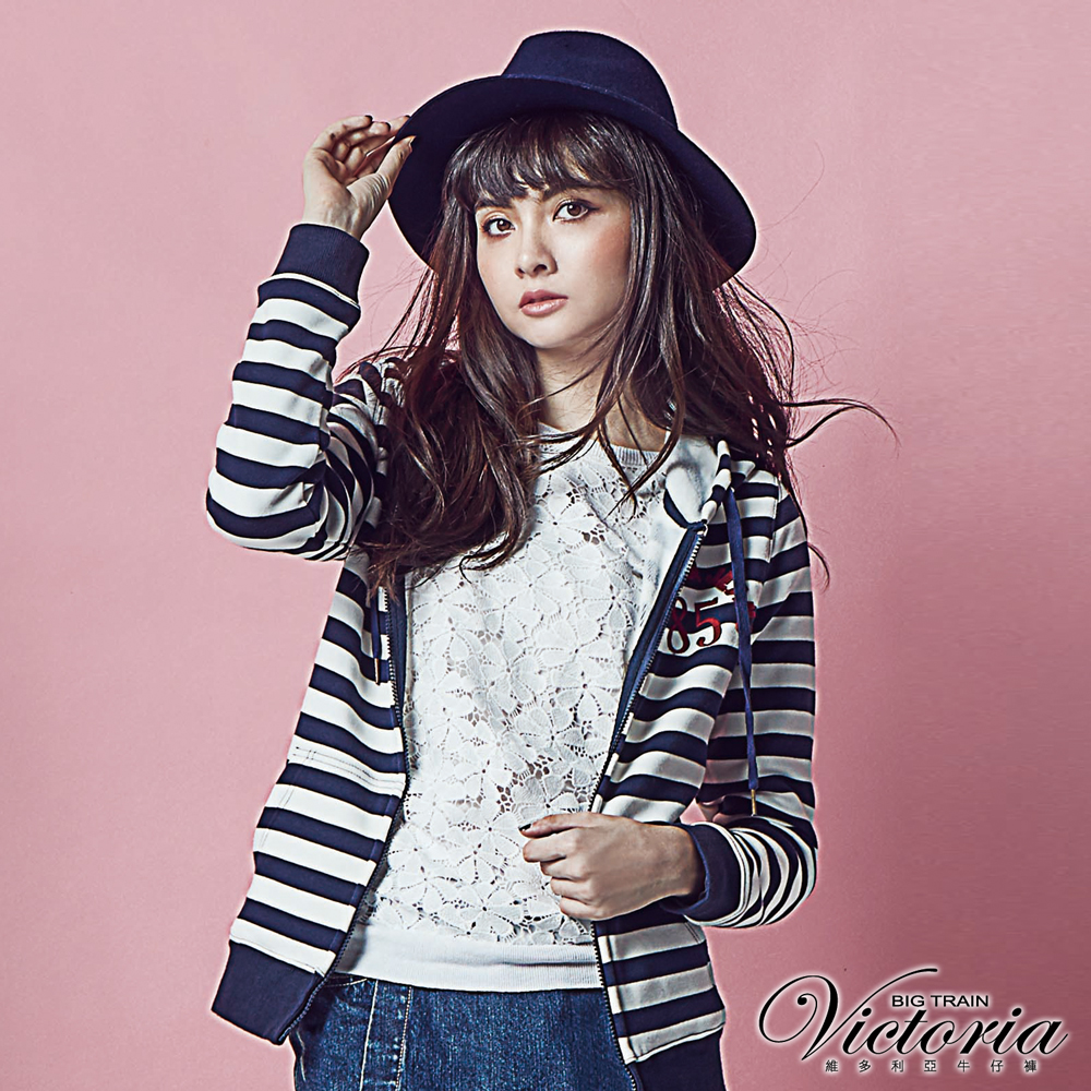 Victoria 條紋連帽休閒外套-女-藍白條紋