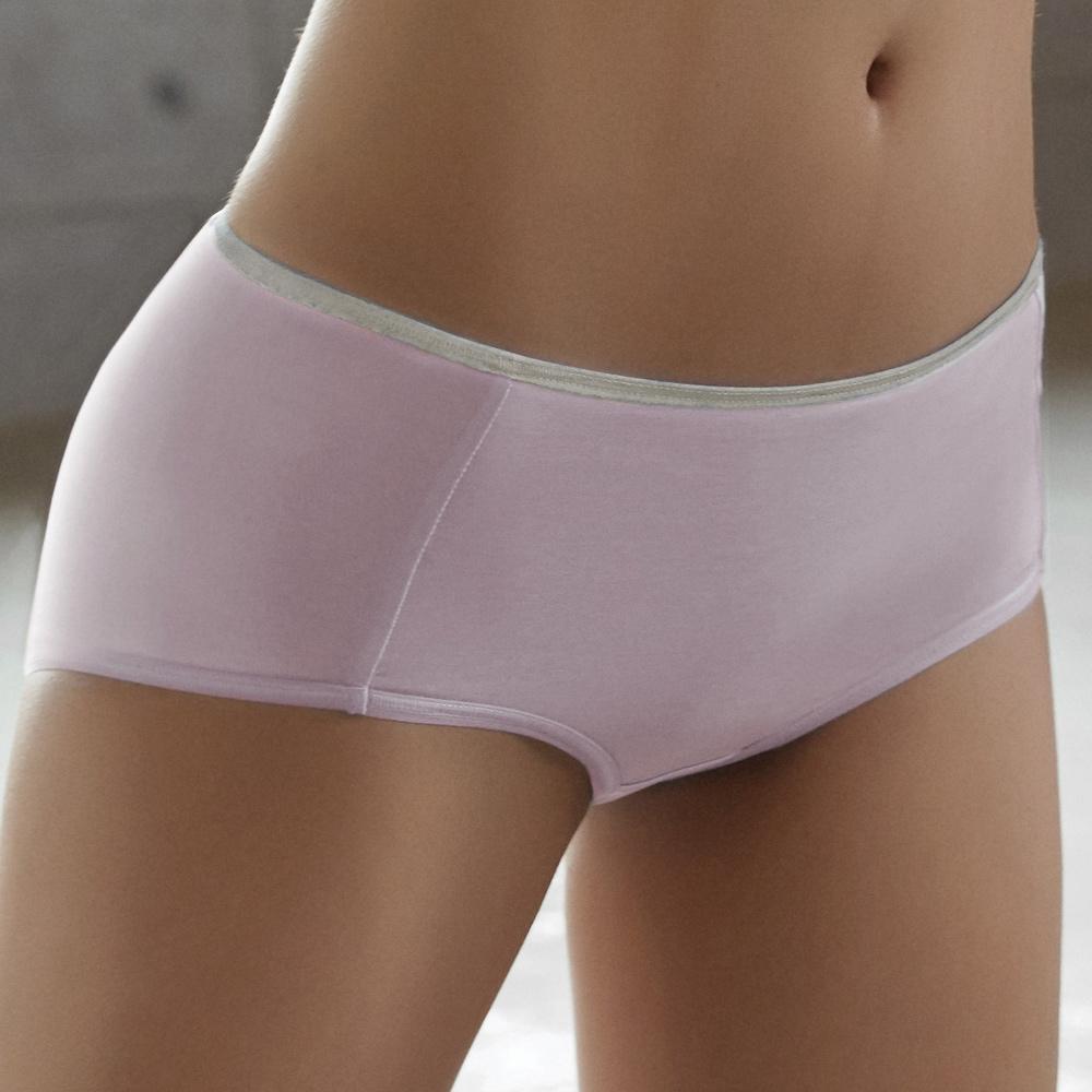 推Audrey-就是愛運動 棉籽絨款中高腰平口褲(粉嫩紫)