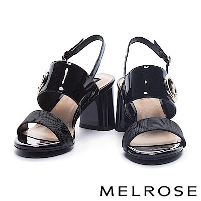 涼鞋 MELROSE 摩登典雅異材質拼接雙字帶繫帶金屬高跟涼鞋-黑