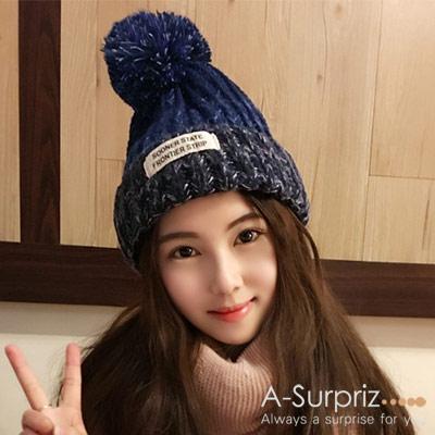 A-Surpriz 韓系混色徽章毛線帽(深藍)