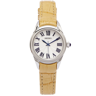 SEIKO 典雅羅馬數字女性手錶(SRZ383P2)-白面X土黃色/28mm