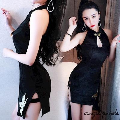 鳳凰刺繡開叉絲絨旗袍無袖連衣裙(黑)-天使波堤
