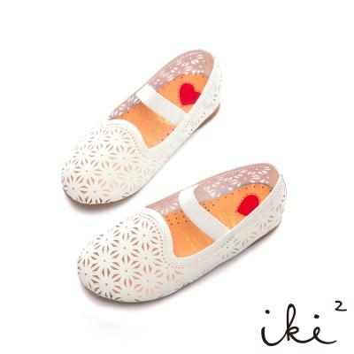 iki2童鞋-跳耀芭蕾繫帶娃娃鞋-白