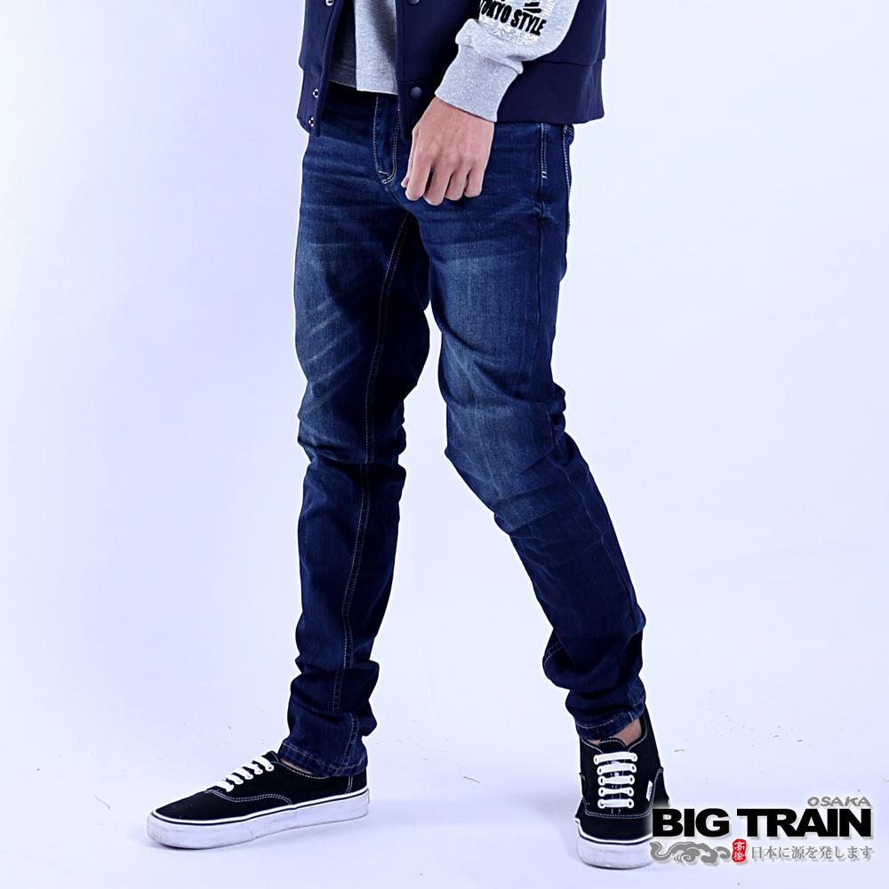 BIG TRAIN 後袋剪接小直筒褲-男-深藍
