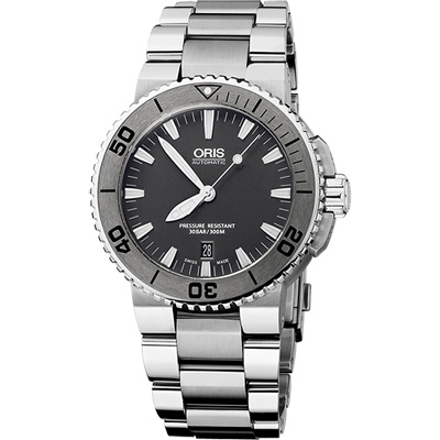 Oris Aquis 時間之海專業潛水機械腕錶-鐵灰/ 43 mm