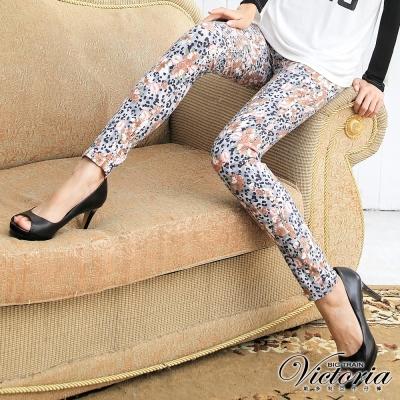 Victoria 低腰印花窄直筒褲-女-灰