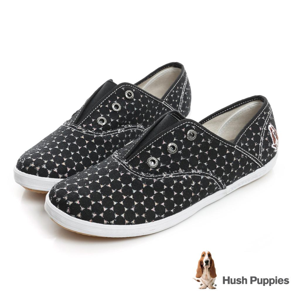 Hush Puppies 黑色戀人咖啡紗懶人帆布鞋-黑
