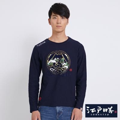 EDWIN EDOKATSU江戶勝燙金竹林長袖T恤-男-丈青