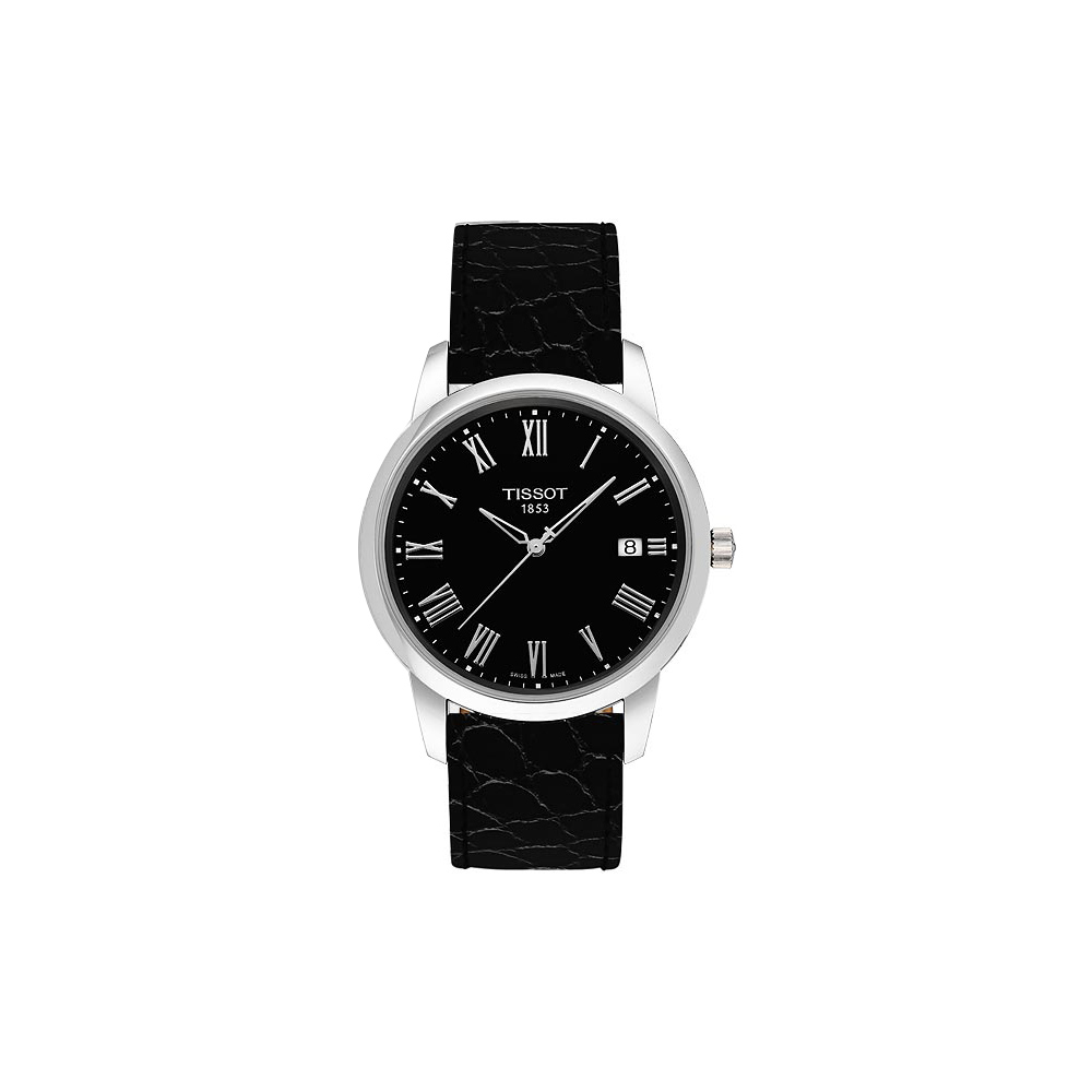 TISSOT CLASSIC DREAM 羅馬皮帶腕錶-黑/38mm