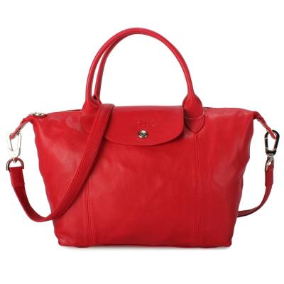 Longchamp Le Pliage Cuir小羊皮短把折疊小型水餃包-紅色