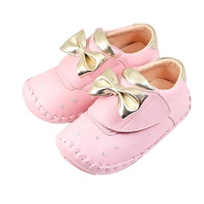 Swan天鵝童鞋-蝴蝶結閃耀水鑽翹頭學步鞋 1525 -粉
