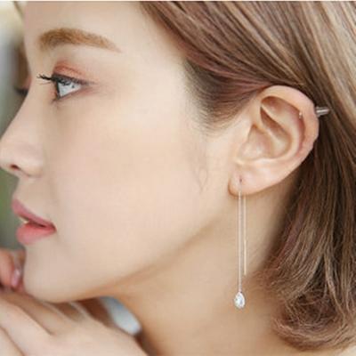 梨花HaNA-韓國925銀細緻守衛水滴皓石耳線耳環銀色