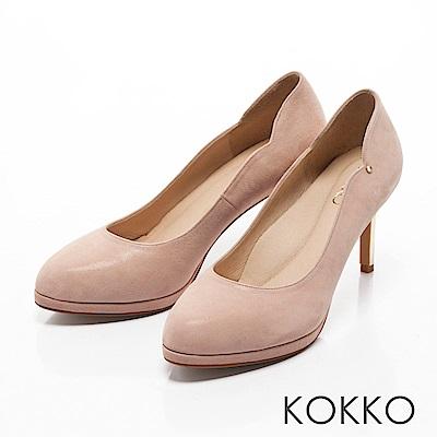 KOKKO -絕美風姿鑽飾曲線優雅高跟鞋-幸福粉