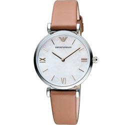 Emporio Armani 絢麗時尚腕錶(AR1988)-白x駝色/32mm