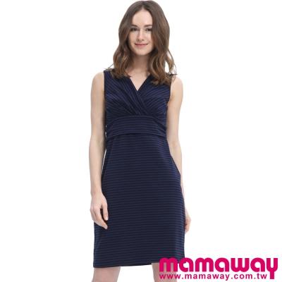 Mamaway-圍裹條子孕哺2用背心洋裝-共三色