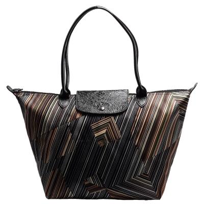 LONGCHAMP OP ART系列錯視感條紋圖案印花帆布漆皮長把手提包(大-卡其色)