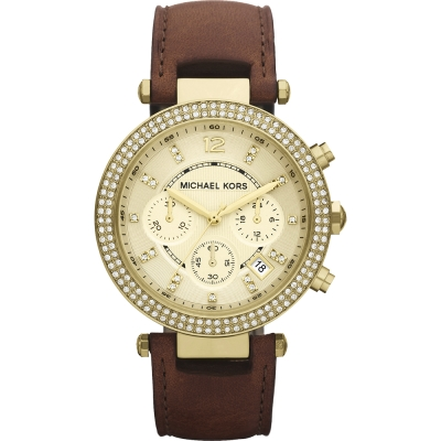 Michael Kors MK 2249  美式奢華晶鑽三眼計時腕錶-金/皮帶/ 38 mm