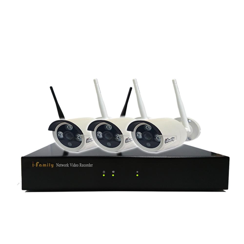 宇晨I-Family免配線/免設定960P四路式無線監視系統套裝一機三鏡