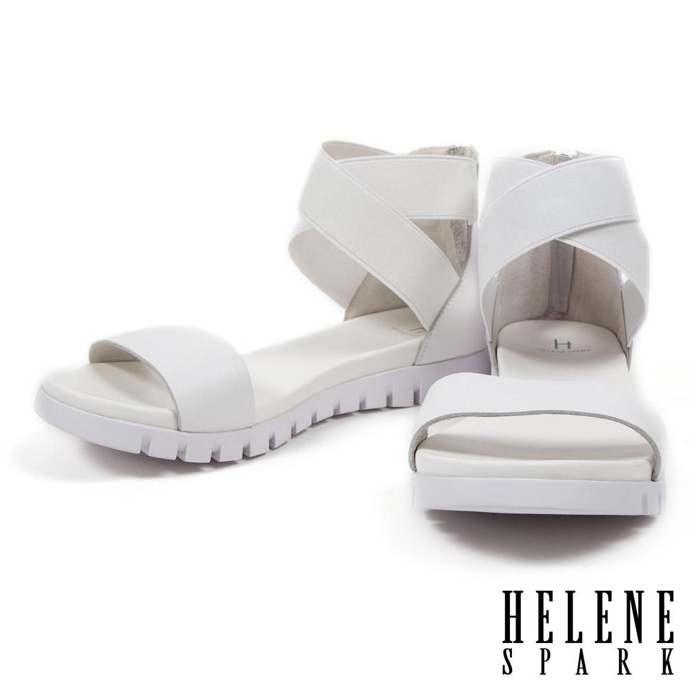 涼鞋 HELENE SPARK  搖滾羅馬式鬆緊帶牛皮厚底涼鞋-白