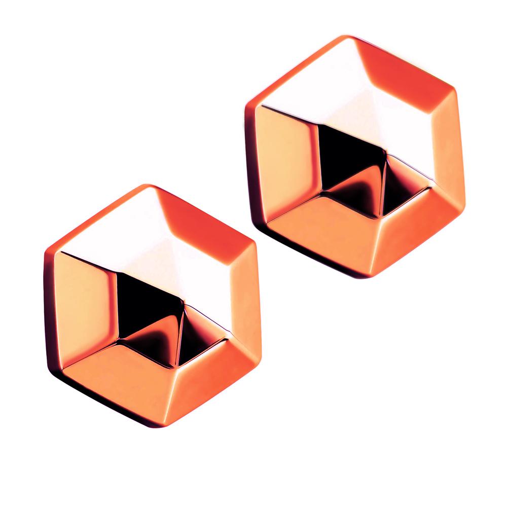Royal Damon羅亞戴蒙 六角立體星 耳環(玫瑰金)