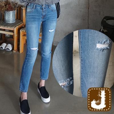 正韓-低腰緊身割破丹寧長褲-淺藍色-100-Korea-Jeans