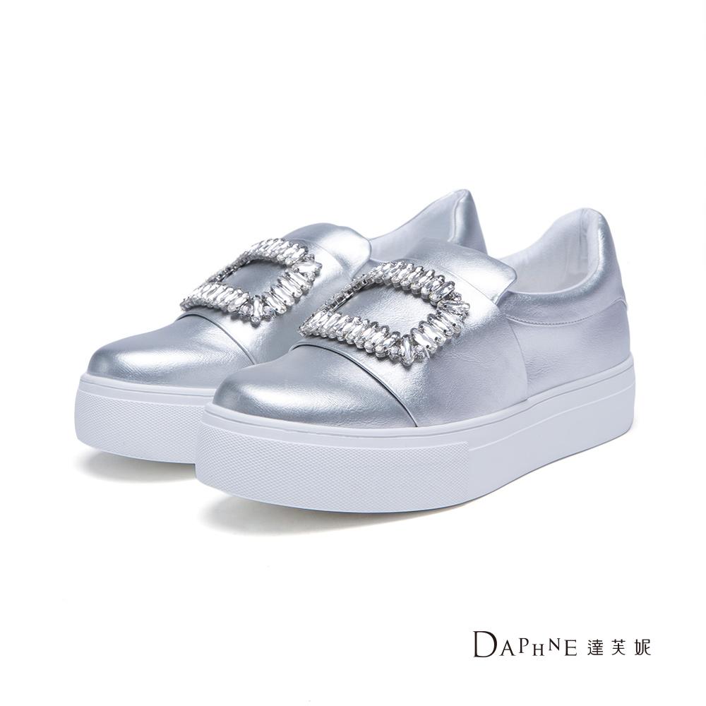 達芙妮DAPHNE休閒鞋-方型鑽飾厚底懶人鞋-銀