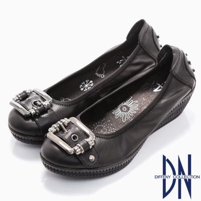 DN-簡約舒適-全真皮方形金屬飾扣楔型跟鞋-黑