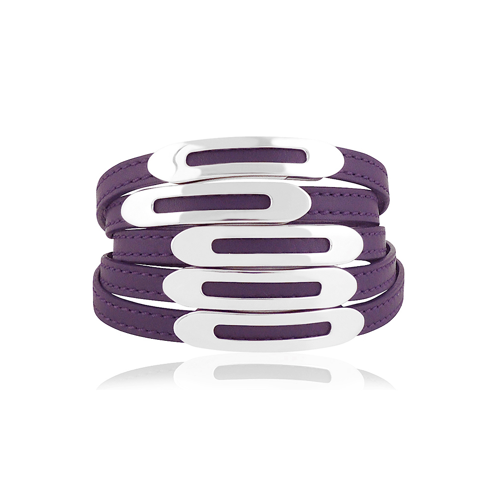 TODS 真皮壓紋六環釦手環-S/L號(紫色)