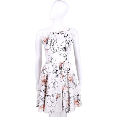 BLUGIRL 白色印花拼接蕾絲短袖洋裝