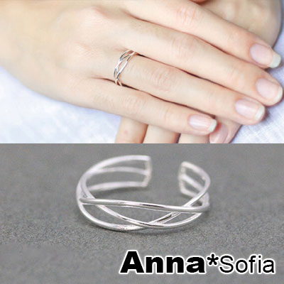 AnnaSofia 交錯纏線 925純銀開口戒指