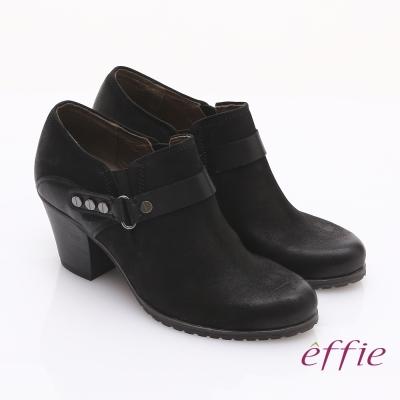 effie 魅力時尚 全真皮雙色魔鬼氈粗跟踝靴 黑