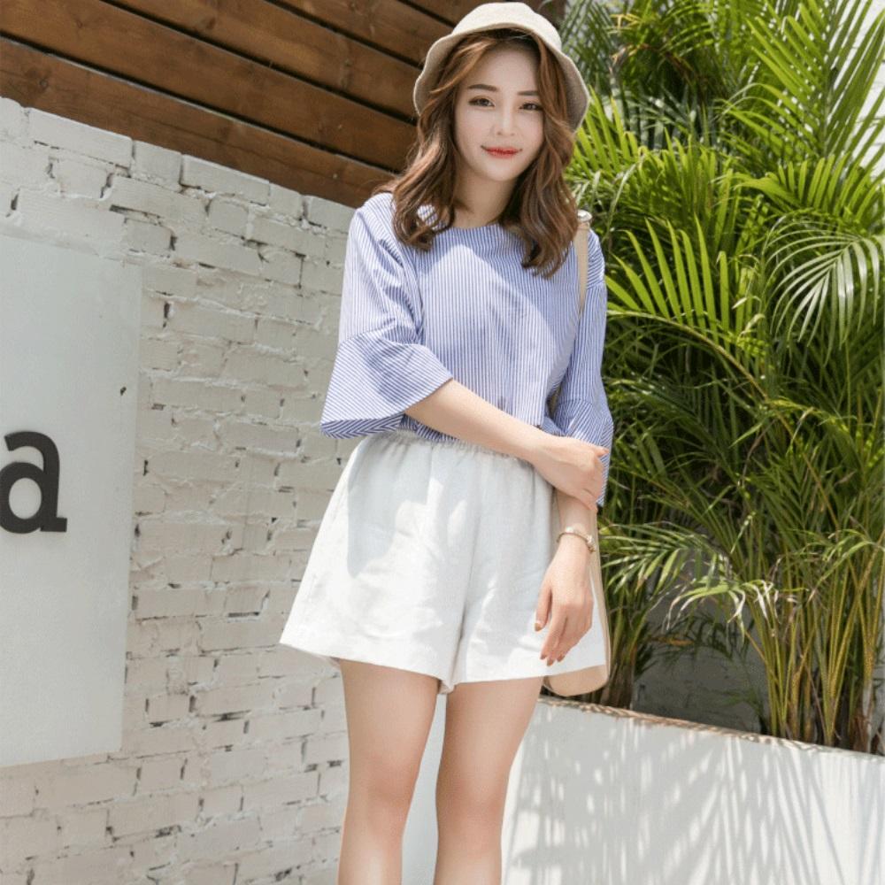 La Belleza素色側口袋腰鬆緊短褲褲裙 product image 1