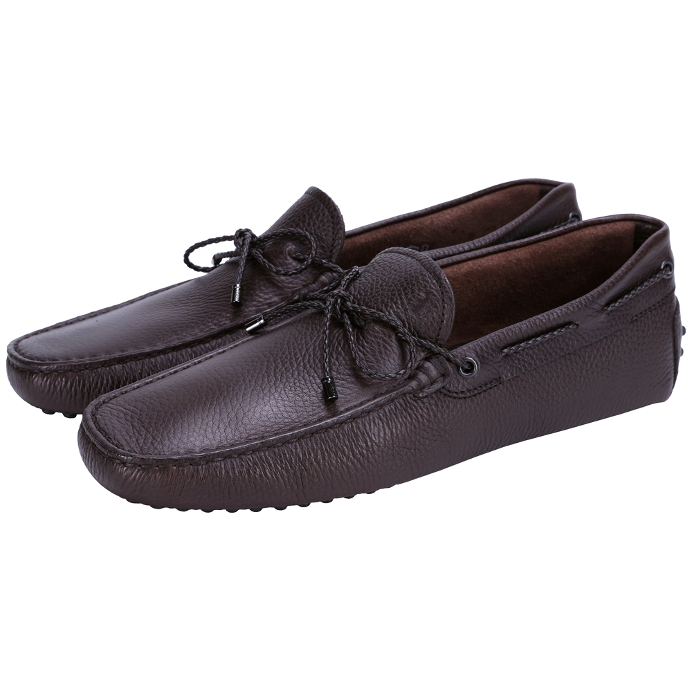 TOD'S Gommino Driving 編織綁帶豆豆休閒鞋(深咖啡色)