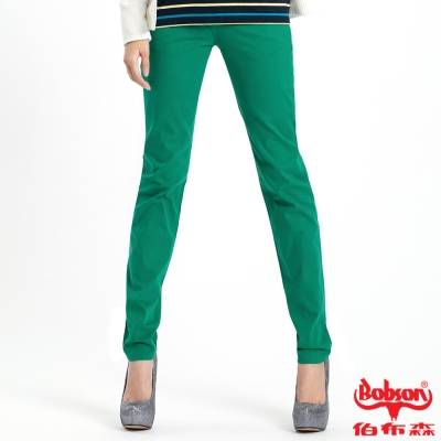 【BOBSON】女款多彩色彈性小直筒褲(綠41)