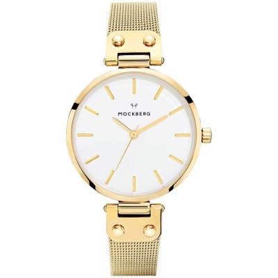 MOCKBERG LIVIV優雅米蘭帶時尚手錶-白X金/34mm