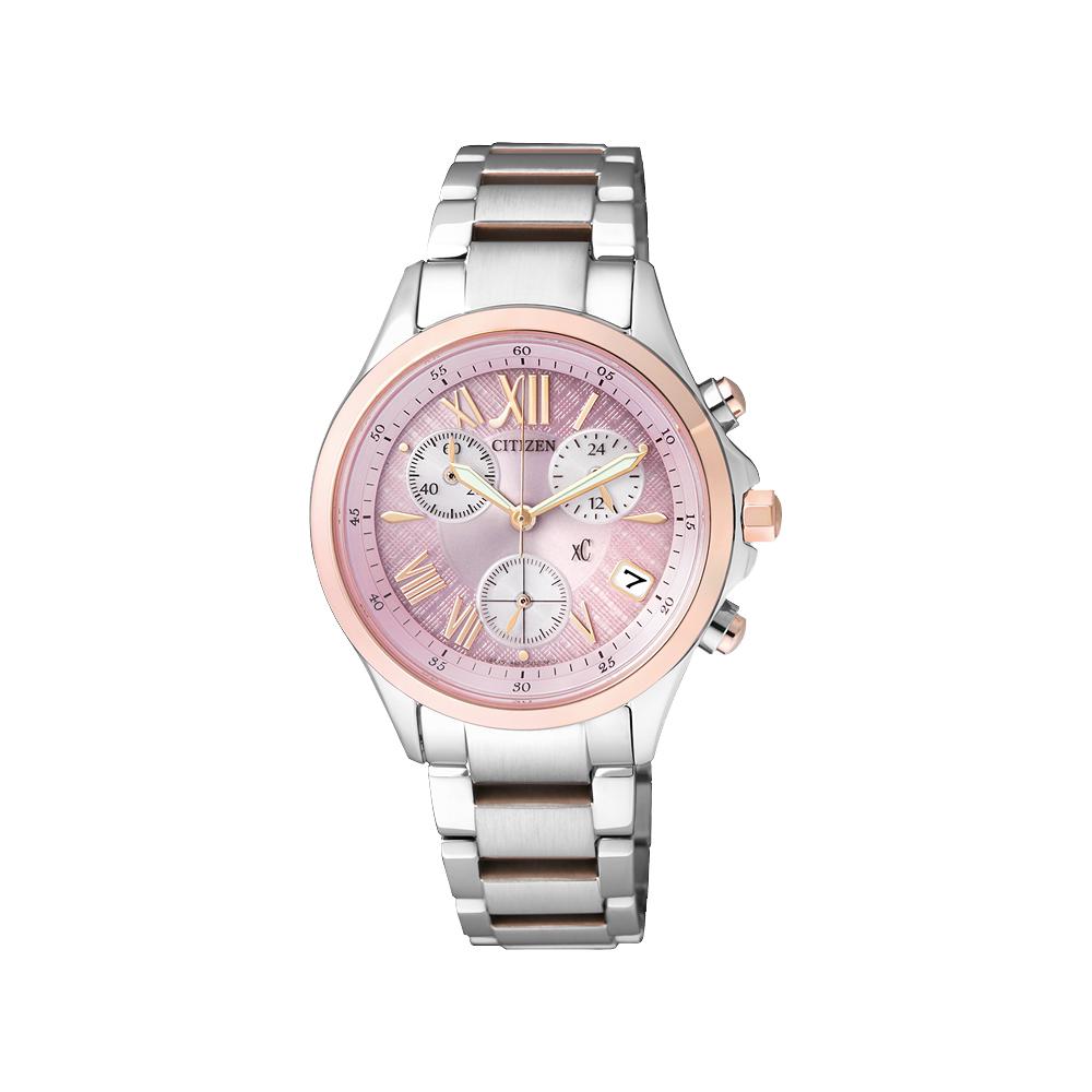 CITIZEN xC 光動能羅馬戀人計時腕錶(FB1404-69W)-粉x玫瑰金/32mm @ Y!購物
