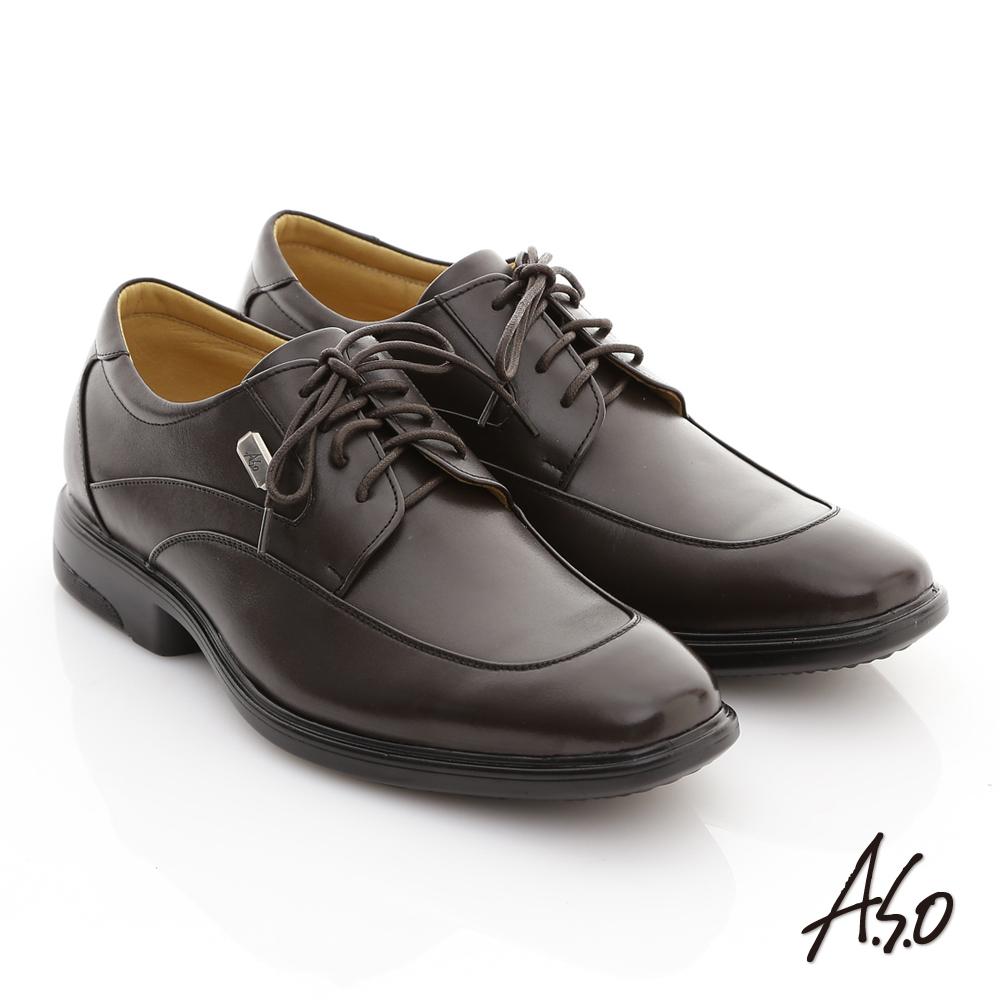 A.S.O EP型動系列 全真皮銀釦紳士綁帶鞋 咖啡