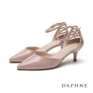 達芙妮DAPHNE 高跟鞋-後跟格狀縷空踝帶尖頭鞋-粉