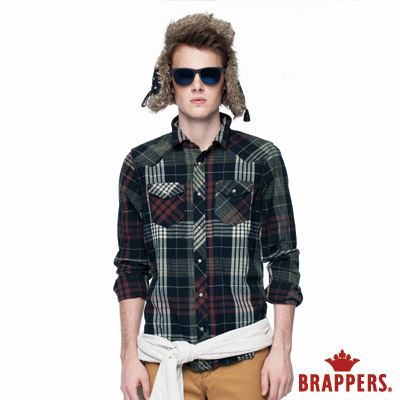 BRAPPERS 男款 抓皺雙口袋長袖襯衫-藍