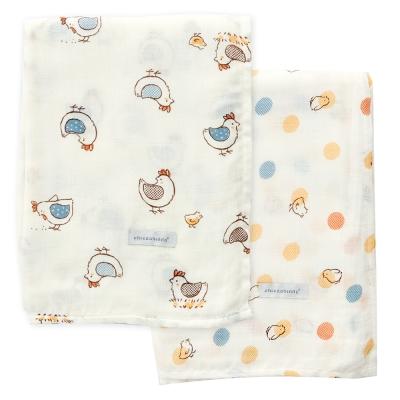 奇哥  竹纖維紗布大包巾2入-快樂小雞