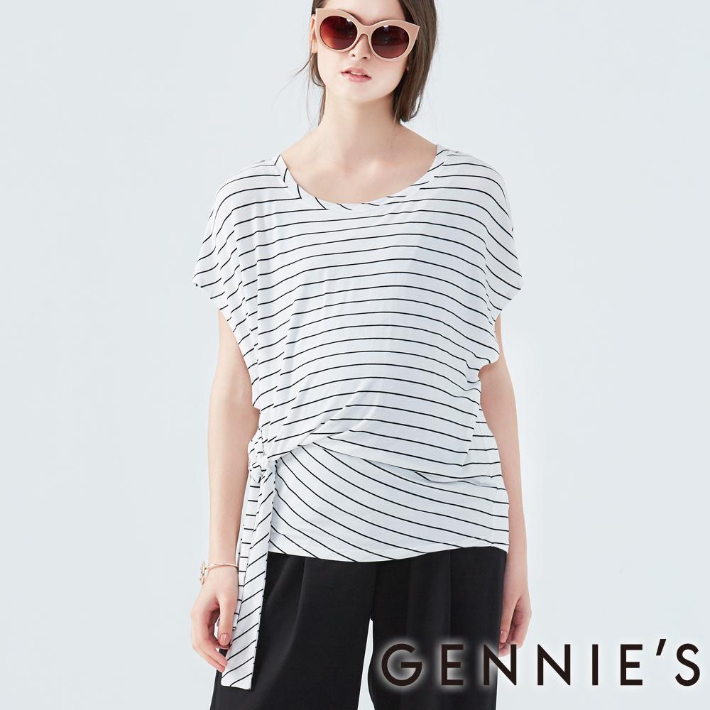 Gennies奇妮-側邊綁帶條紋上衣-(C3D04-白底黑條)