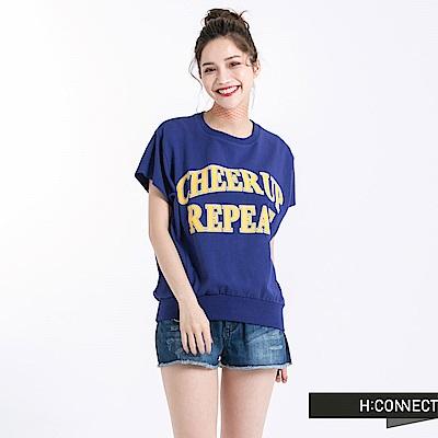 H:CONNECT 韓國品牌 女裝-印字短袖上衣-藍紫色