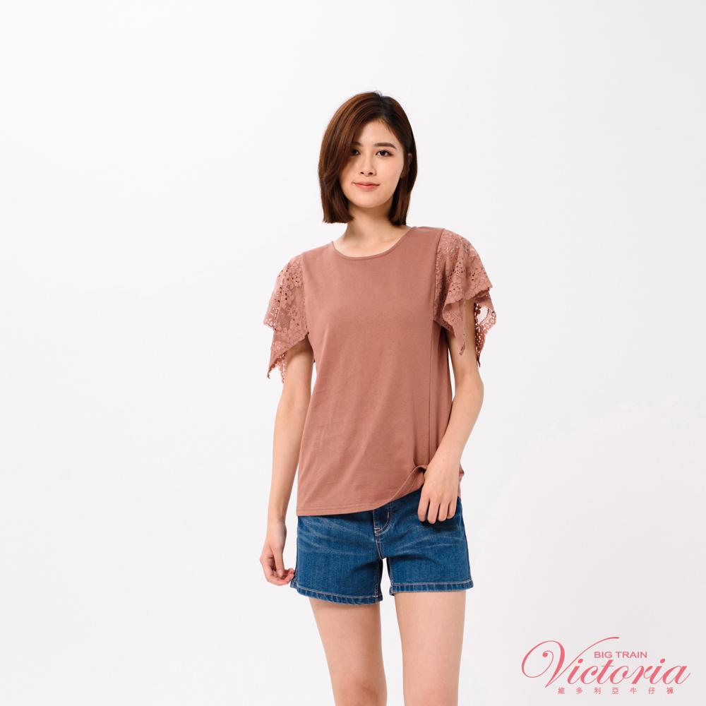 Victoria 袖蕾絲拼接短袖T-女-紅咖