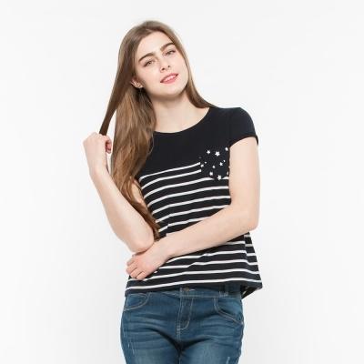 Hang Ten - 女裝 - 星星口袋條紋T-Shirt - 藍