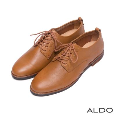ALDO-原色真皮蛇紋鞋翼綁帶雙夾心牛津鞋-焦糖
