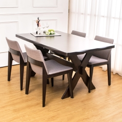 Bernice-奈登實木餐桌椅組(一桌四椅)-150x90x76cm