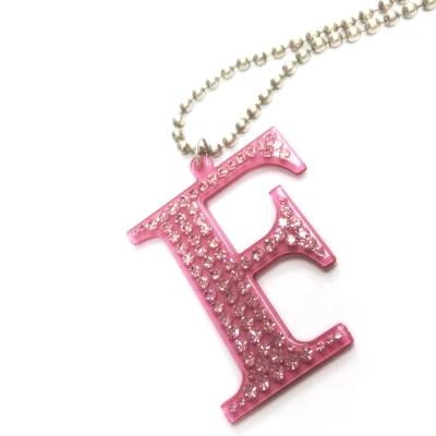 Anna Lou Of London 倫敦品牌 水晶字母項鍊 F 粉紅色X銀鍊